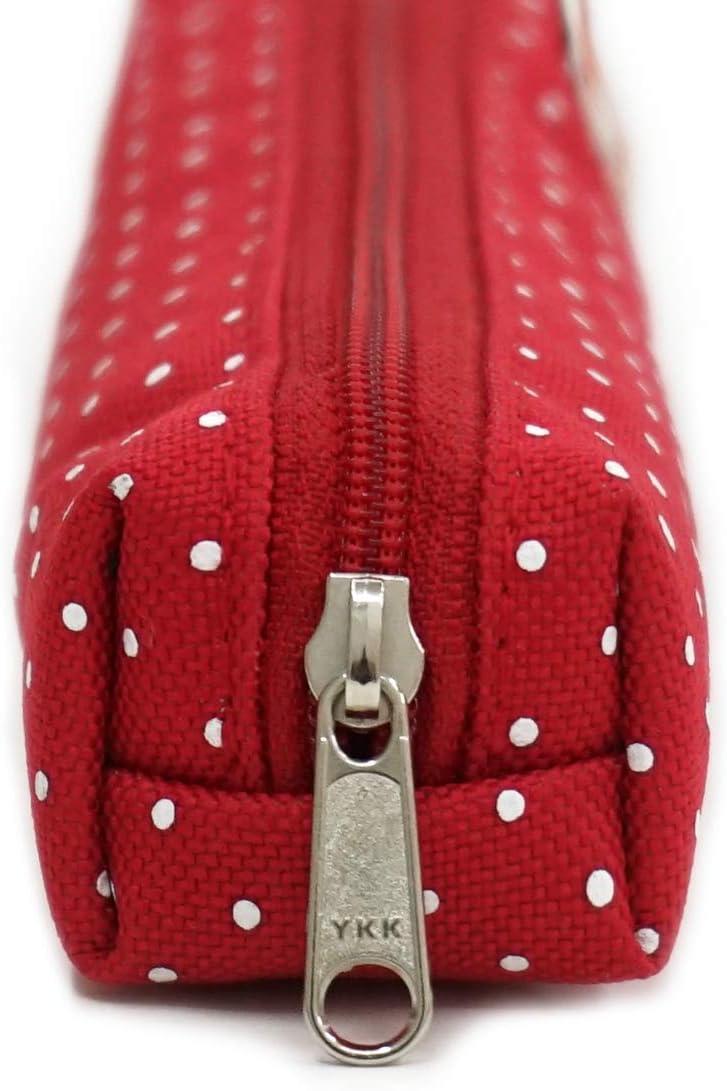 Red//White dots Rough Enough Vintage Slim Small Pencil Case Stick