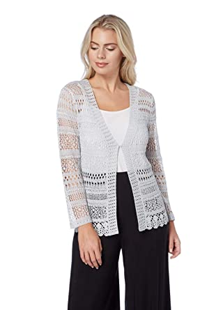 2596463decd Roman Originals Women Long Sleeve Open Crochet Lace Cardigan Shrug - Ladies  Short Knitted Shrugs and Boleros for Evening Cover Daywear Summer Holiday  ...