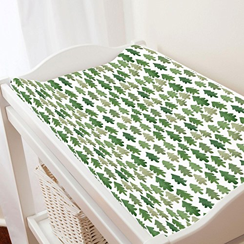 Carousel Designs Evergreen Forest Changing Pad Cover – Organic 100% Cotton Change Pad Cover – Made in The USA