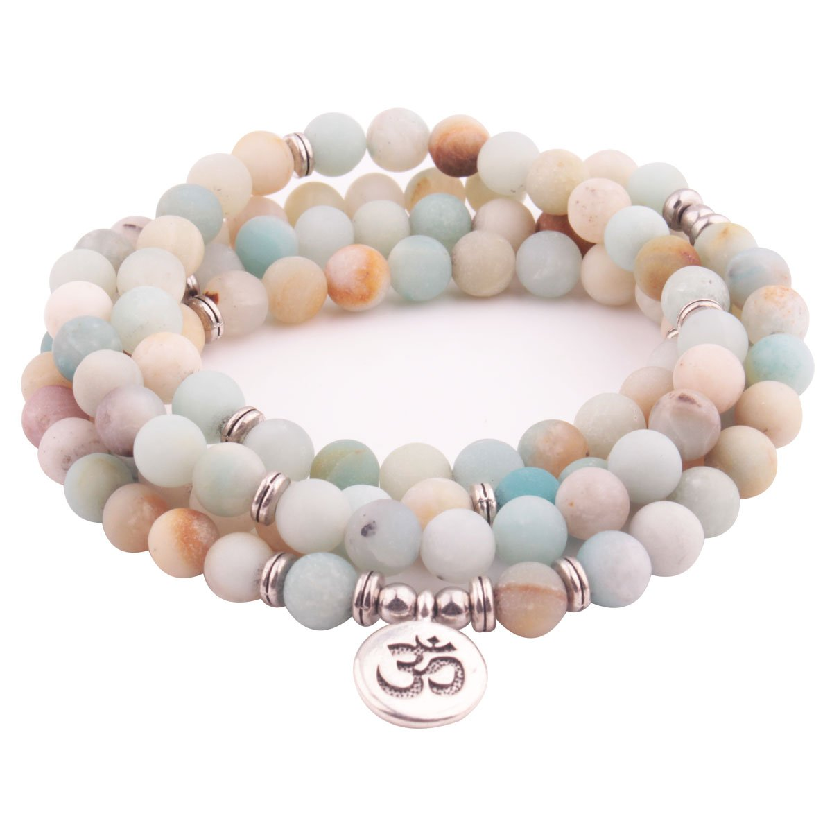 GVUSMIL 108 Matte Amazonite Stone Elasticity Bracelet OM Pendant Necklace for Yoga Buddhist Rosary Prayer