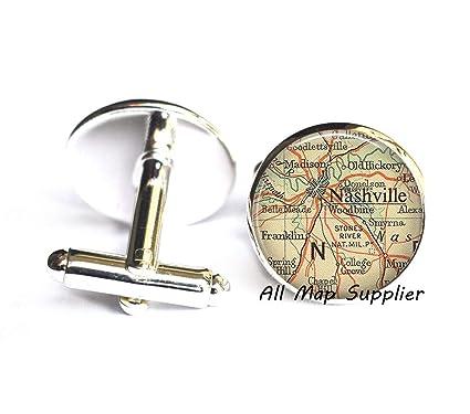 Amazon.com : Charming Cufflinks, Nashville map Cufflinks, Nashville ...