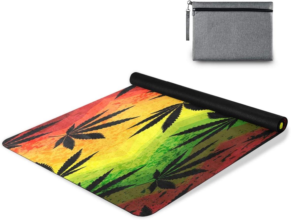 Bardic Simaac - Alfombrilla de yoga con patrón de hojas de cannabis colorido, antideslizante, de goma natural, para ejercicio, pilates, gimnasio, camping, 180 x 66 cm