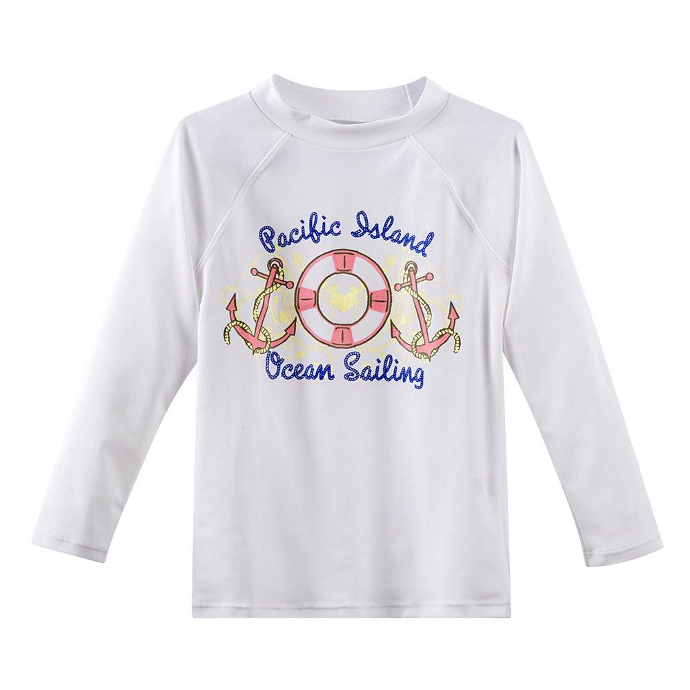 Estamico Baby Toddler Girl's Long Sleeve Rashguard Shirts Swimwear UPF 50+ Sun Protection