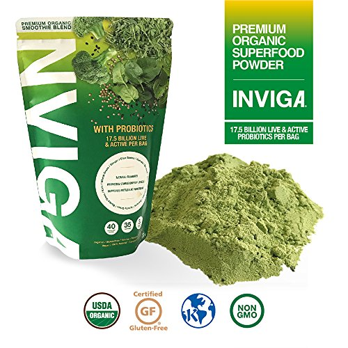 Greens Superfood Powder with Probiotics: Boosts Energy & Detox. Delicious Tasting Antioxidant Super Foods Made with Real Ingredients – 35 Days Supply For Sale