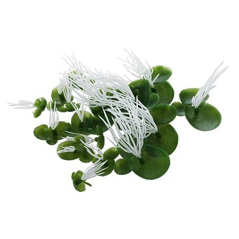 TOOGOO(R) Lenteja de agua Artificial para Acuario Planta Flotante Plastico Verde Blanca