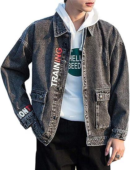 [ZENGTU] デニムジャケット メンズ ジージャン アウター 長袖 綿 通勤 Gジャン 大きいサイズ ヒップホップ ストリート原宿風 加工 メンズ 服 春秋冬 カジュアル ファッション 黒 ブルー