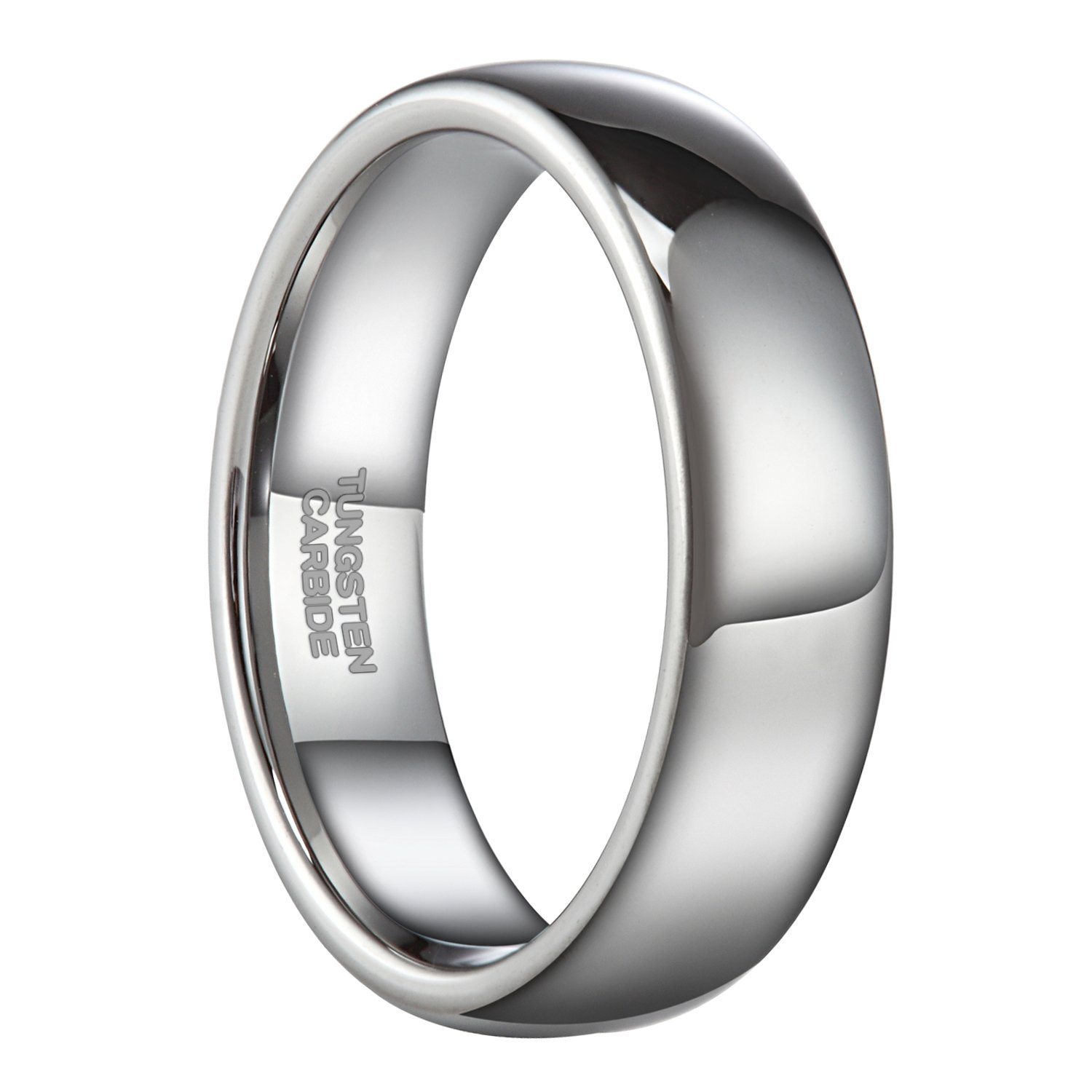 6mm Silver Tungsten Carbide Ring for Men Women Wedding Band High Polished Shiny Domed Comfort Fit Size 9.5