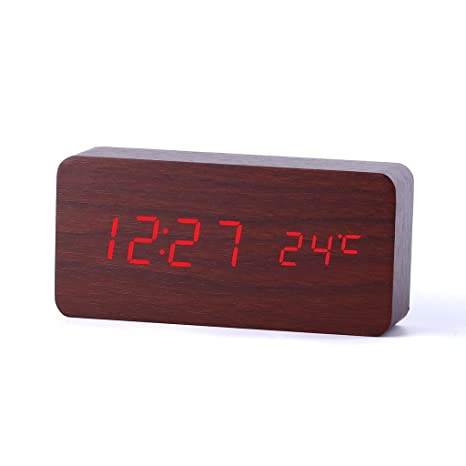 Happy Hours Digital Voice Sound Control Activated Wood Grain Soft Night Light LED Alarm Wooden Clock