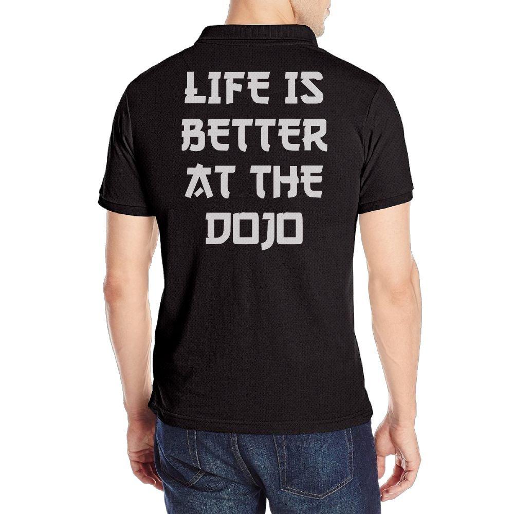 KH5GJ-25 Mens Life is Better at The Dojo Short Sleeves Polo T Shirt