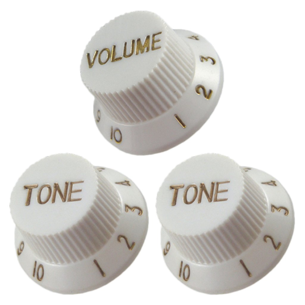 MonkeyJack Guitar Speed Control Knobs 1 Volume 2 Tone for Stratocaster ST SQ Electric Guitars - Beige, as described