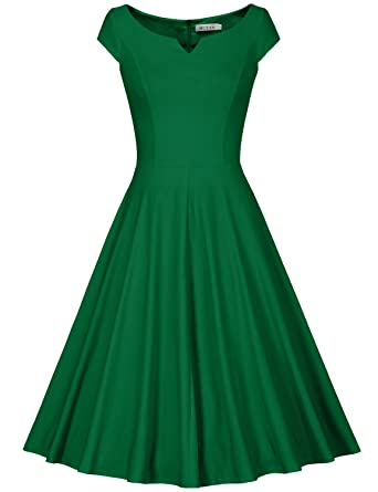 fb1ffc7da4c4a MUXXN Womens Retro 50s 60s Boat Neck Fit and Flare Juniors Party Dress (S  Green