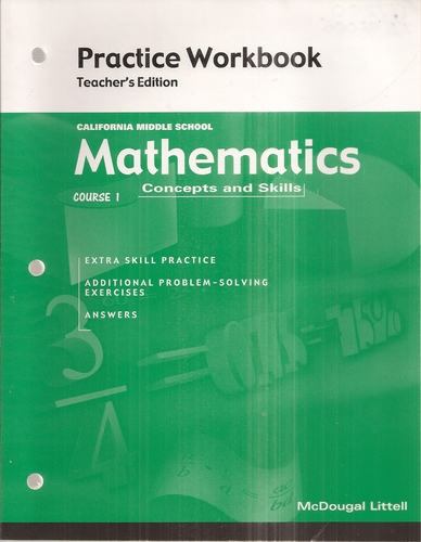 Mathematics Course 1 Concepts and Skills Practice Workbook Teacher's Edition pdf epub