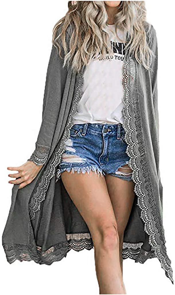 Rakkiss Women Solid Color Lace Open Front Cardigan Casual Loose Long Sleeve Outdoor Long Coat Jacket Trench