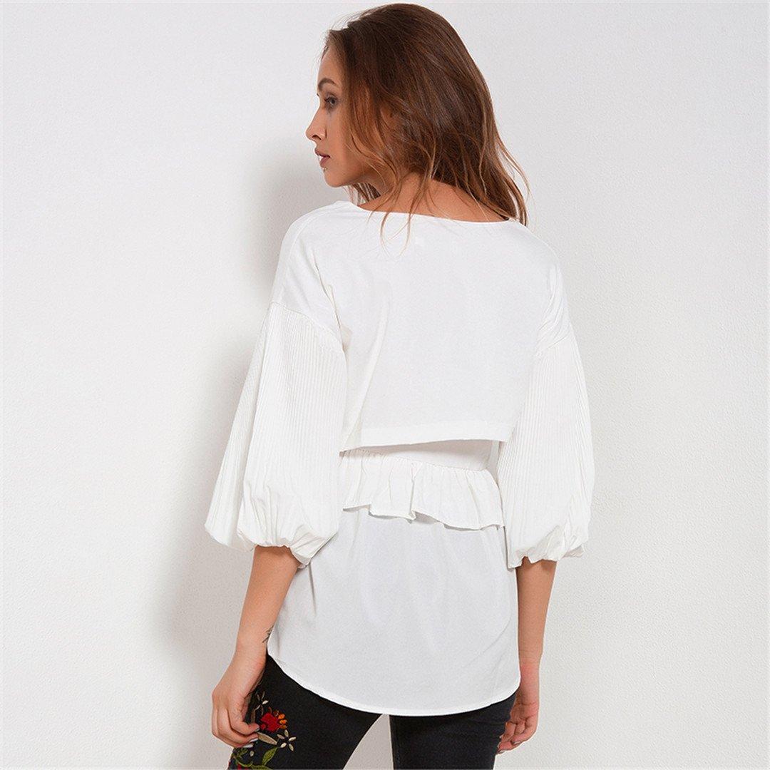 Amazon.com: Casual Loose Blouses ForWomen Womens Clothing Pleated Lantern Sleeve Chiffon Blouse White: Clothing