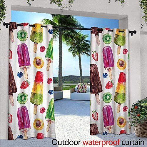 - BlountDecor Sweet Patio Curtains W96 x L108 Yummy Cute Vivid Ice Creams with Fruit and Chocolate Flavors Kiwi Watercolor Design Outdoor Curtain for Patio,Outdoor Patio Curtains Multicolor