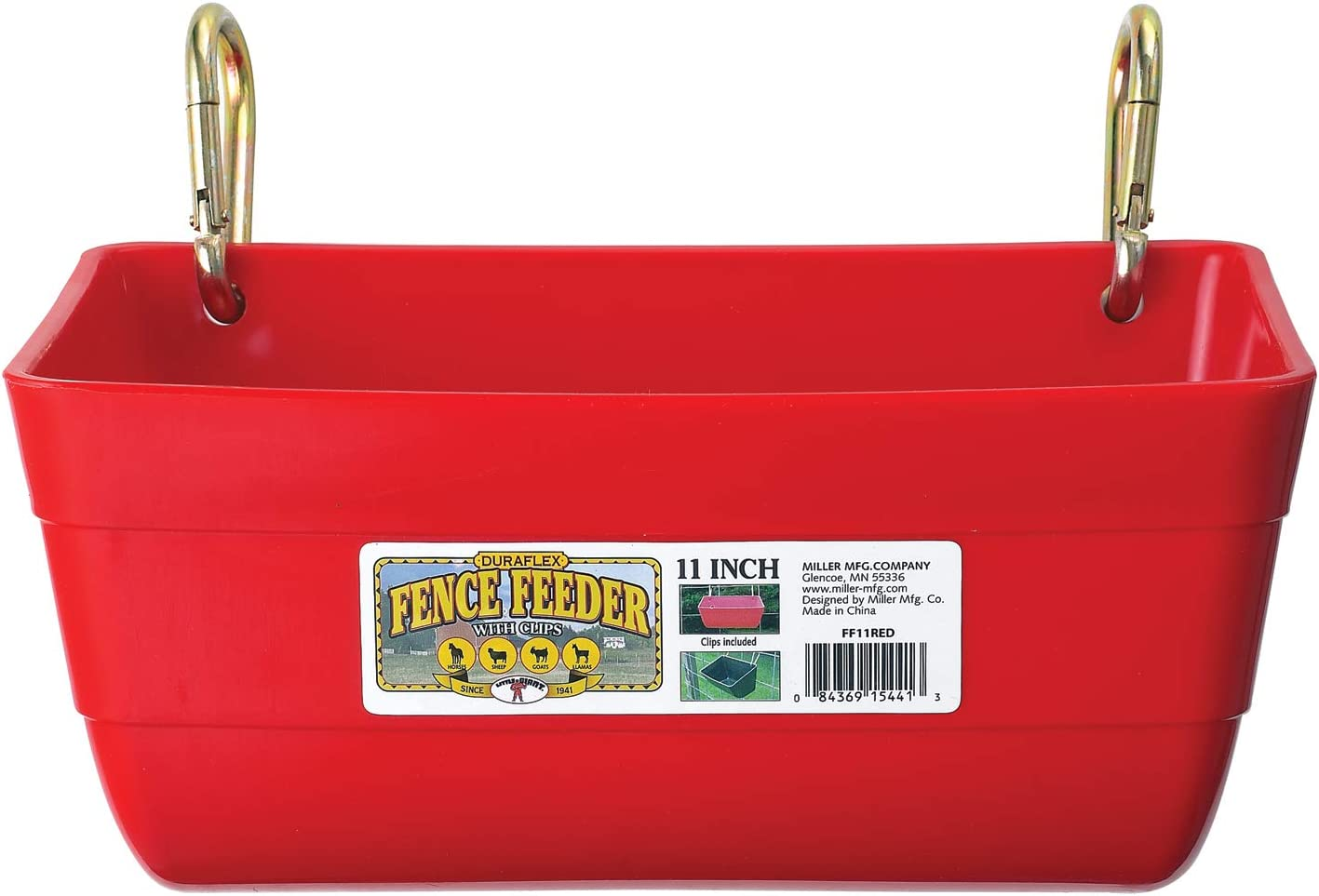 Little Giant Plastic Fence Feeder with Clips (Red) Heavy Duty Mountable Feed Trough Bucket for Livestock & Pets (4.5 Quart) (Item No. FF11RED)