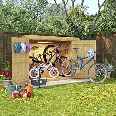 Cobertizo de madera de 6 x 3 la lengua y Groove Pent techo de doble puerta de fieltro de almacenamiento de bicicleta: Amazon.es: Jardín