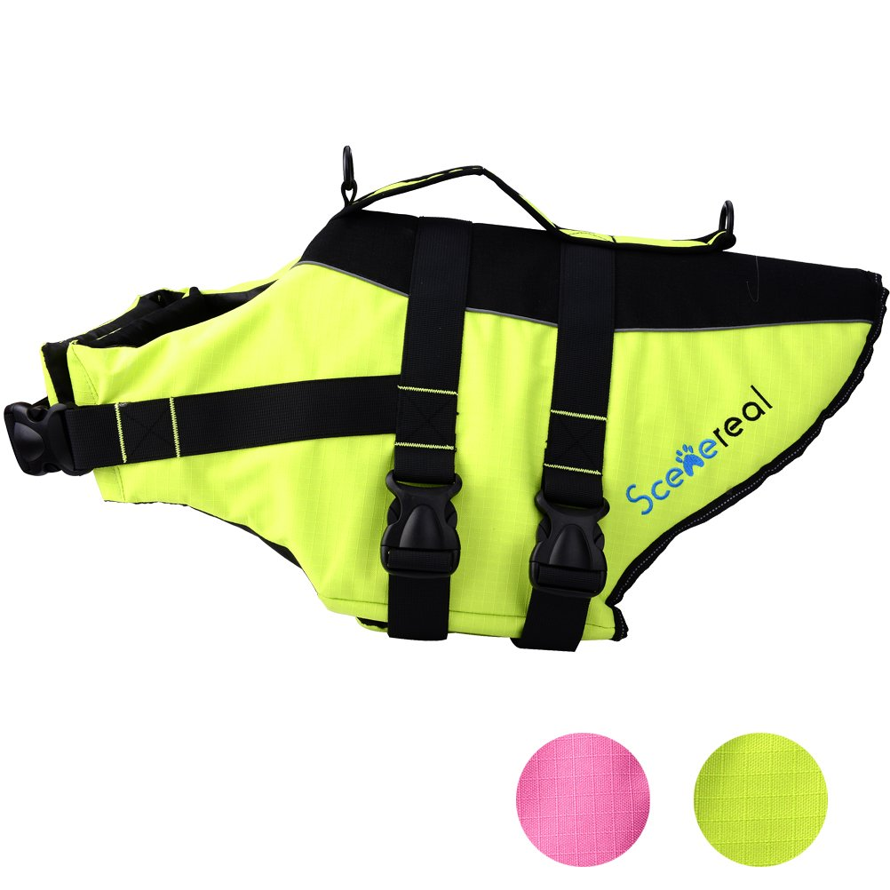 Green S Green S SCENEREAL Dog Life Jacket Outdoor Safety Adjustable Vest for Small Medium Large Dogs Pets with Bright colors Summer Swimming, Green S