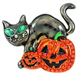 Soulbreezecollection Halloween Party Event Black Cat Kitten Jack O Lantern Pumpkin Brooch Pin Costume (Black Cat Sty 2)