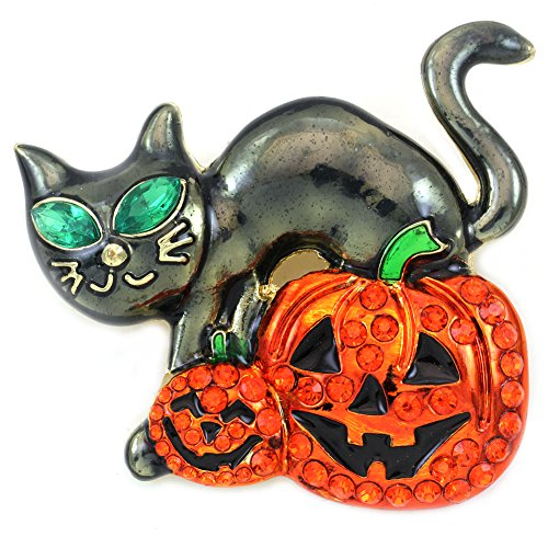 Kitten Pin Brooch - Soulbreezecollection Halloween Party Event Black Cat Kitten Jack O Lantern Pumpkin Brooch Pin Costume (Black Cat Sty 2)