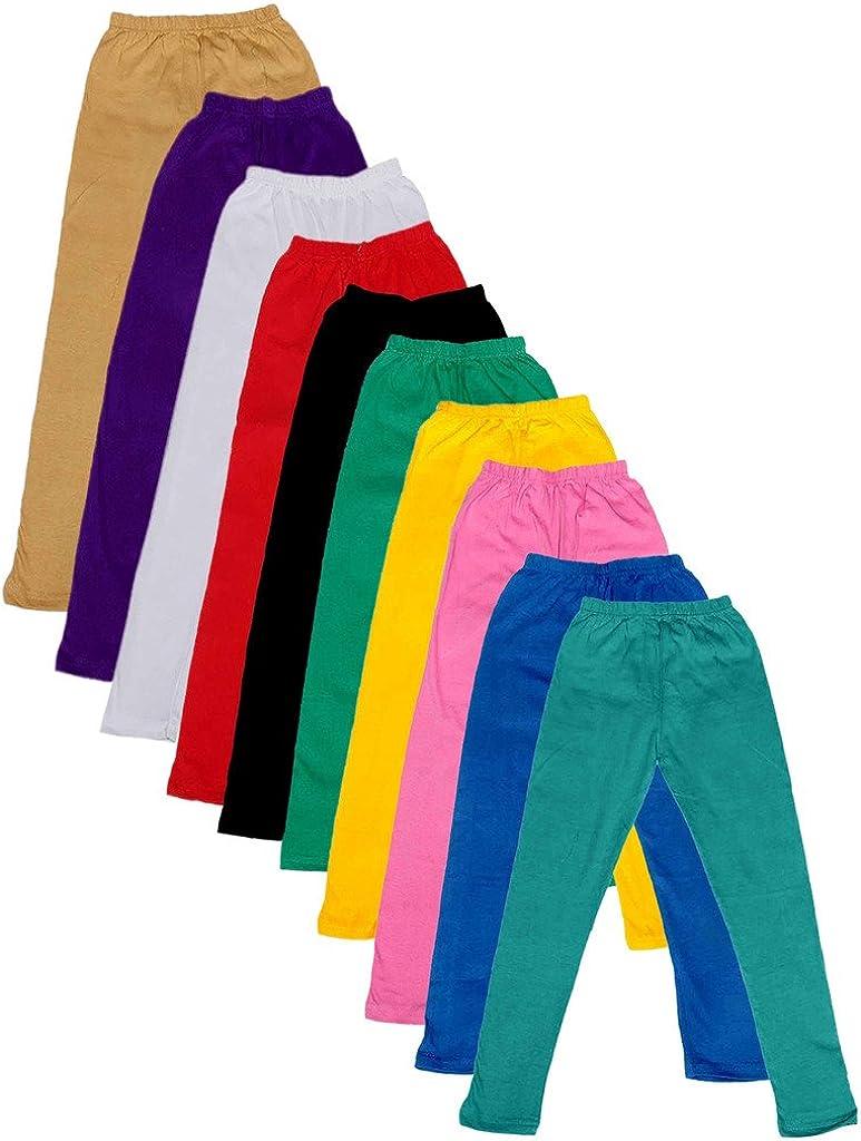 Indistar Girls Super Soft Cotton Full Ankle Length Leggings Pack of 10