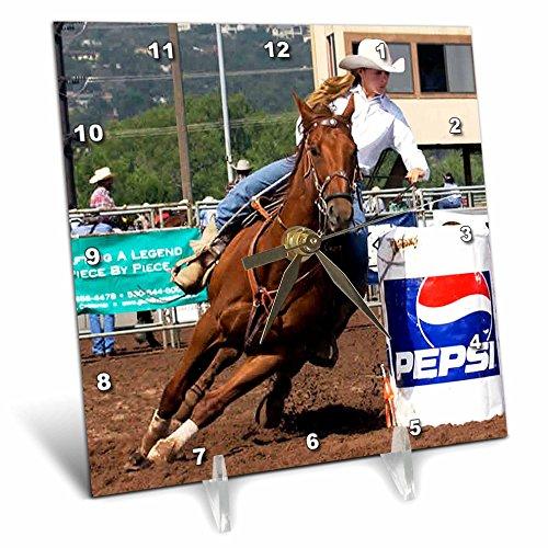 3dRose dc_1157_1 Barrel Racing Desk Clock, 6 by 6-Inch