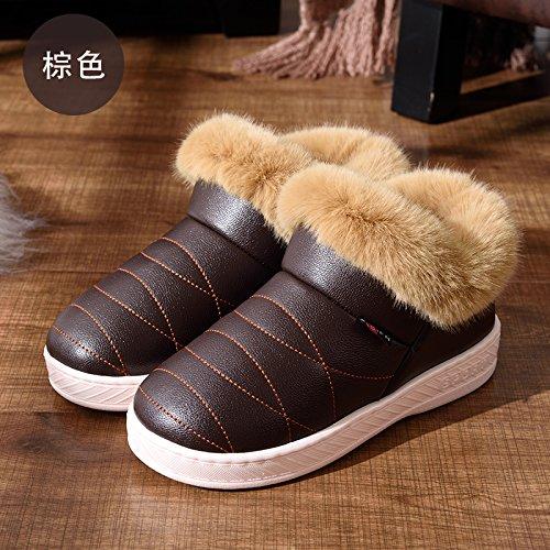 DogHaccd pantofole,Inverno alta aiutare caldo cotone pantofole pacchetto con un paio di uomini e donne home interno più spessa di velluto pu in pelle liscia impermeabile scarpe di cotone,Brown43