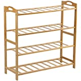 Bamboo Shoe Rack Storage Organizer Wooden Shelf Stand Shelves 3/4/5 Tiers Layers (4 Tiers)