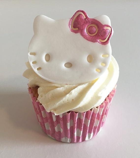Edible White Cat Cake Sugarpaste topper Birthday Sugar Handmade large Decoration