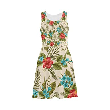 8a2d6e71831 Women s Tropical Floral Print Polyester Casual Sundress at Amazon ...