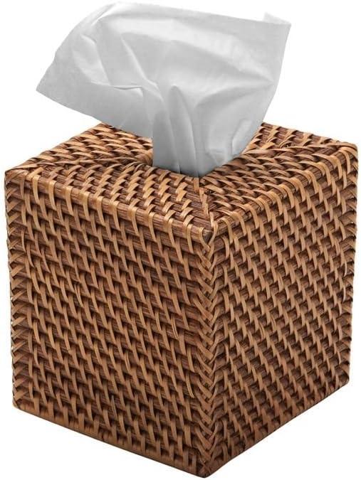 "KOUBOO 1030017 Square Rattan Tissue Box Cover, 5.5"" x 5.5"" x 5.75"", Honey Brown: Home Improvement"