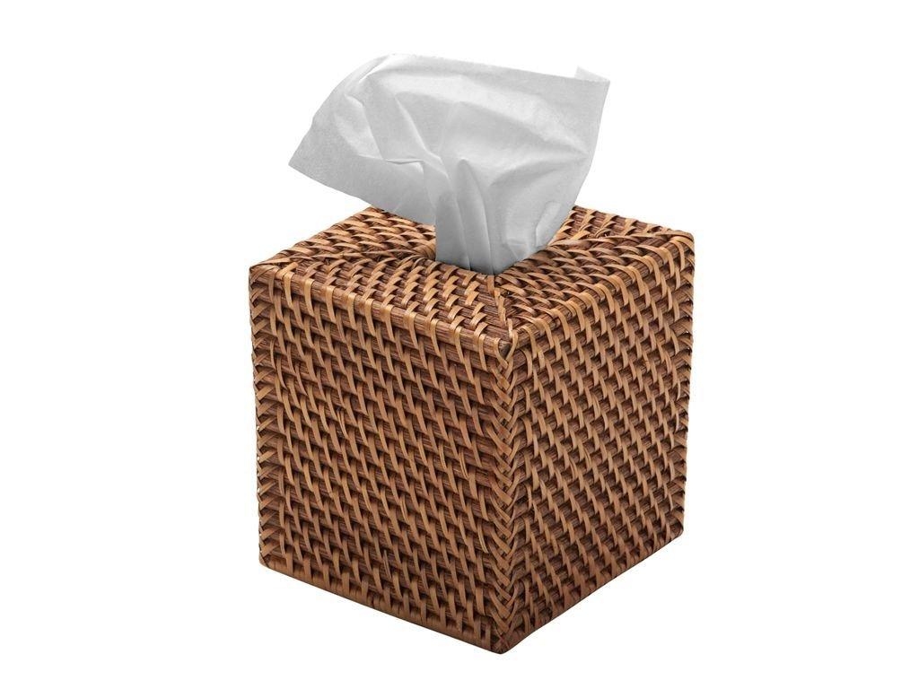 KOUBOO 1030017 Square Rattan Tissue Box Cover, 5.5'' x 5.5'' x 5.75'', Honey Brown by Kouboo