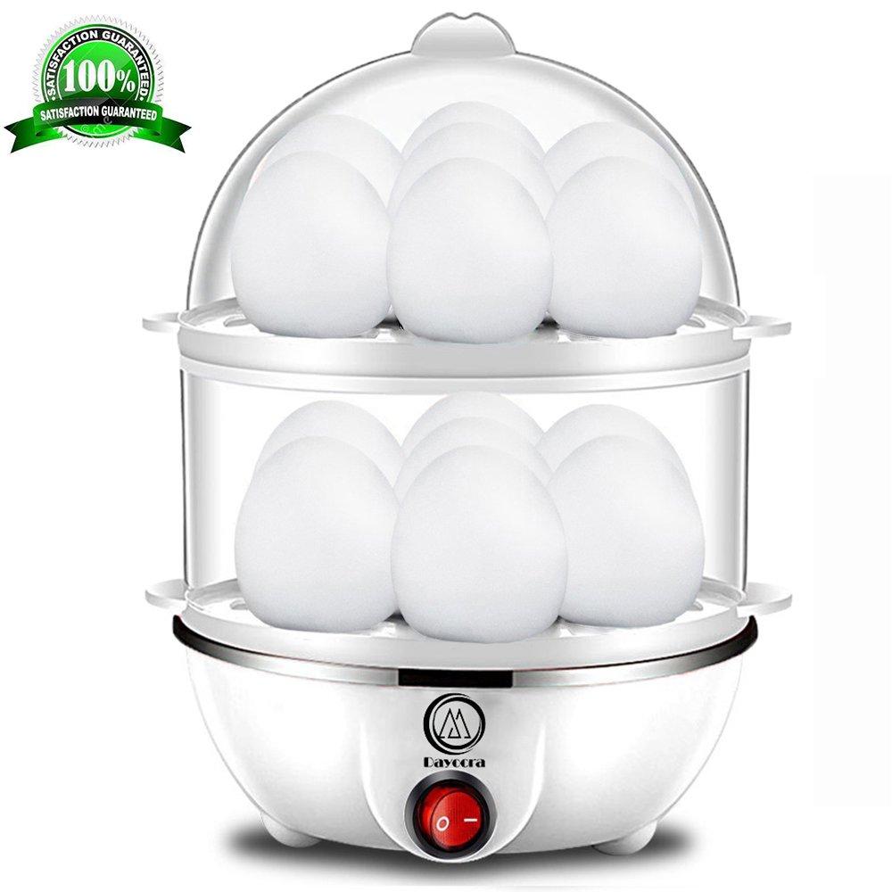 Egg Cooker, Electric Egg Boiler, White Egg Poacher, Rapid Egg Maker, Double Layer Egg Steamer for Healthy Breakfast, 14 Egg Capacity Egg Cooker with Automatic Shut Off