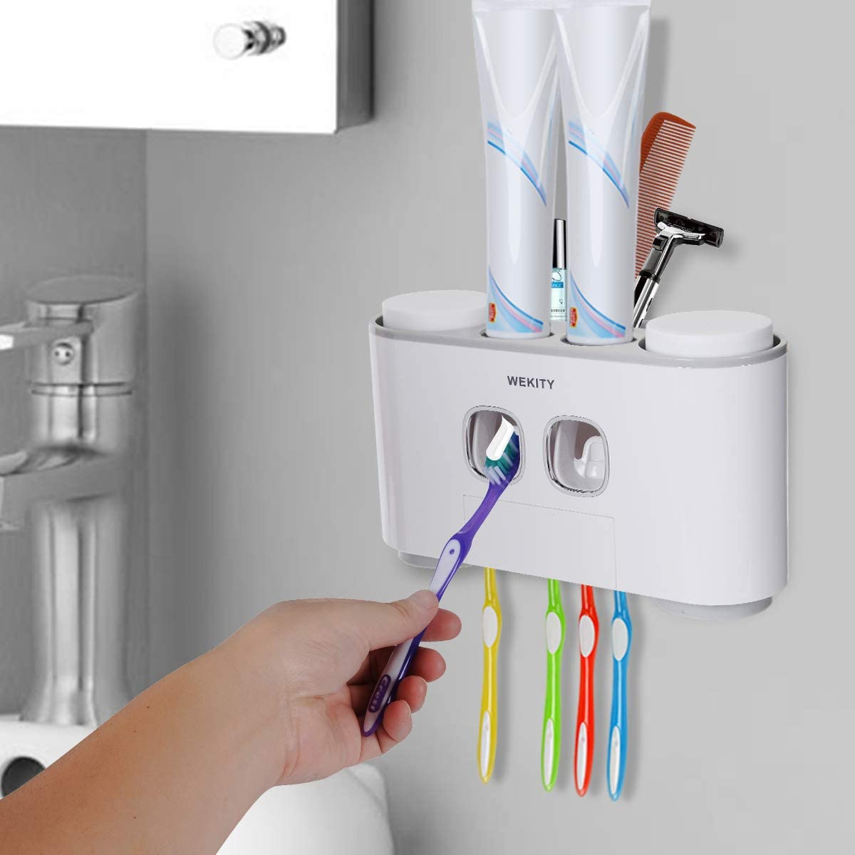 Amazon Com Wekity Toothbrush Holder Multifunctional Wall Mounted Space Saving Toothbrush And Toothpaste Squeezer Kit With Dustproof Cover 5 Toothbrush Slots 2 Automatic Toothpaste Dispenser And 4 Cups Grey Home Kitchen