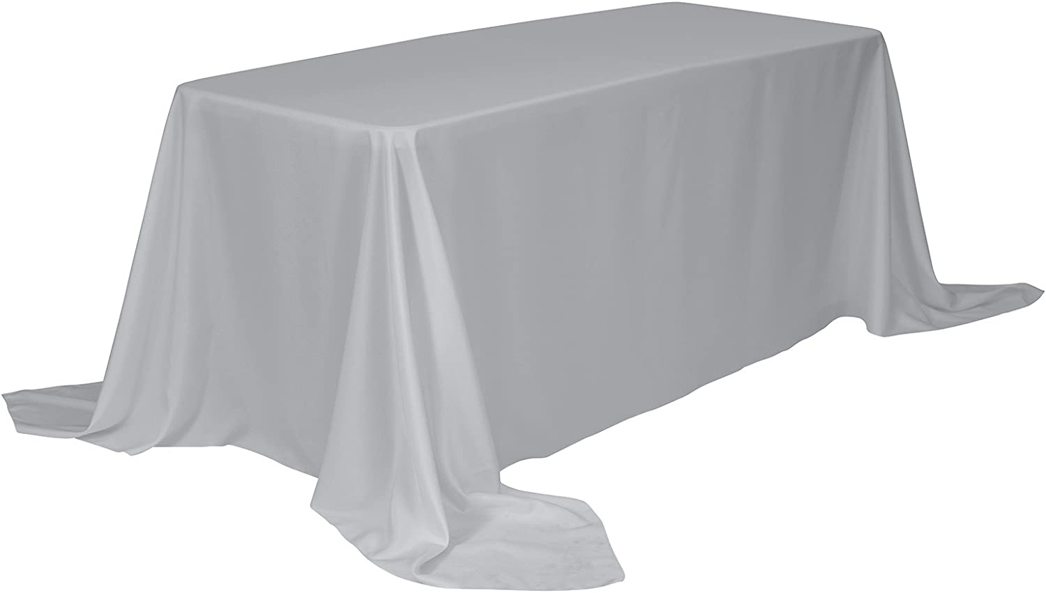 Remedios Rectangle Tablecloth 90x132 Inch - Washable Polyester Table Cloth for 6 Foot Table - Spillproof and Wrinkle Free Dinner Tablecloth for Wedding Party Restaurant Silver Table Cloth
