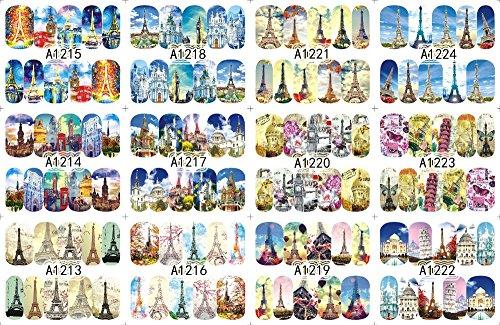 12 PACK/LOT WATER DECAL NAIL ART NAIL STICKER SLIDER TATTOO FULL COVER EUROPE PARIS TOWER CHURCH A1213-1224 -
