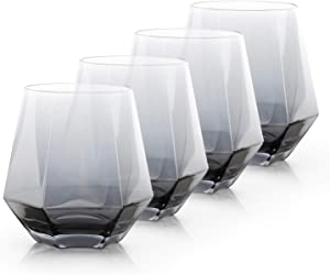 Grey Drinking Glasses, Beasea 10 oz Grey Wine Glasses Whiskey Glasses Set of 4, Cocktail Glasses Diamond Whiskey Tumblers Old Fashioned Scotch Wine Glasses for Bourbon & Rock Style