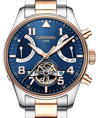 PASOY Men Aviator Automatic Mechanical Luminous Blue Dial Rose Gold Steel Case Sapphire Glass Week Watch