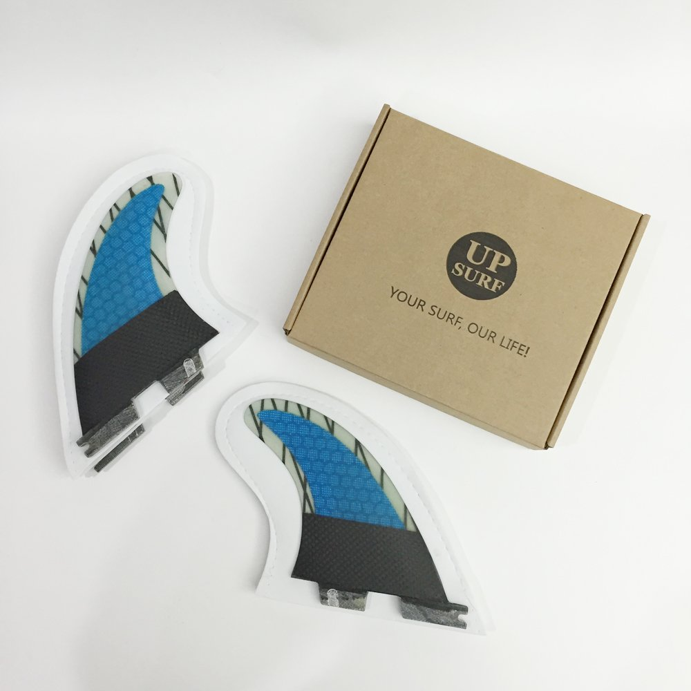 Amazon.com : UPSURF surfboard fins FCS2 carbon 5 surfing fins blue choose size--M+S/L+S : Sports & Outdoors