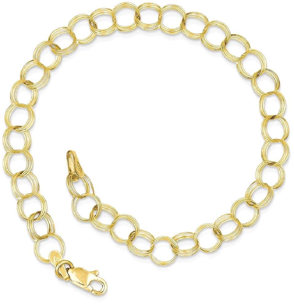 ICE CARATS 10k Yellow Gold Triple Link Charm Bracelet 7 Inch Fine Jewelry Gift Set For Women Heart