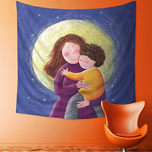AmaPark Polyester Tapestry Wall Hanging Mum and Child Acrylic Paintings Wall Decor for Bedroom Living Room Dorm63W x 63L Inch (Raiders Acrylic Tapestry Throw)
