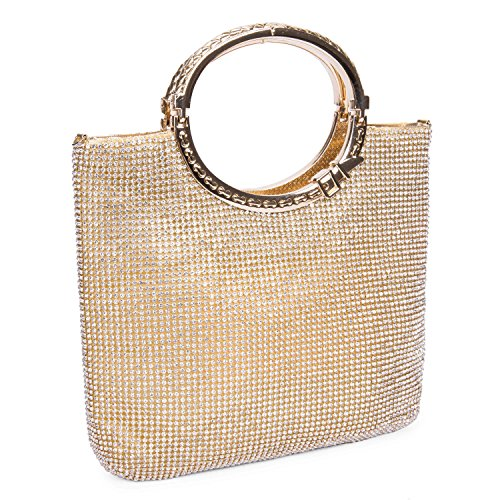 CLOCOLOR Womens Crystal Rhinestone Evening Bags Wedding Clutch Purse with Bow Frame Glod Small