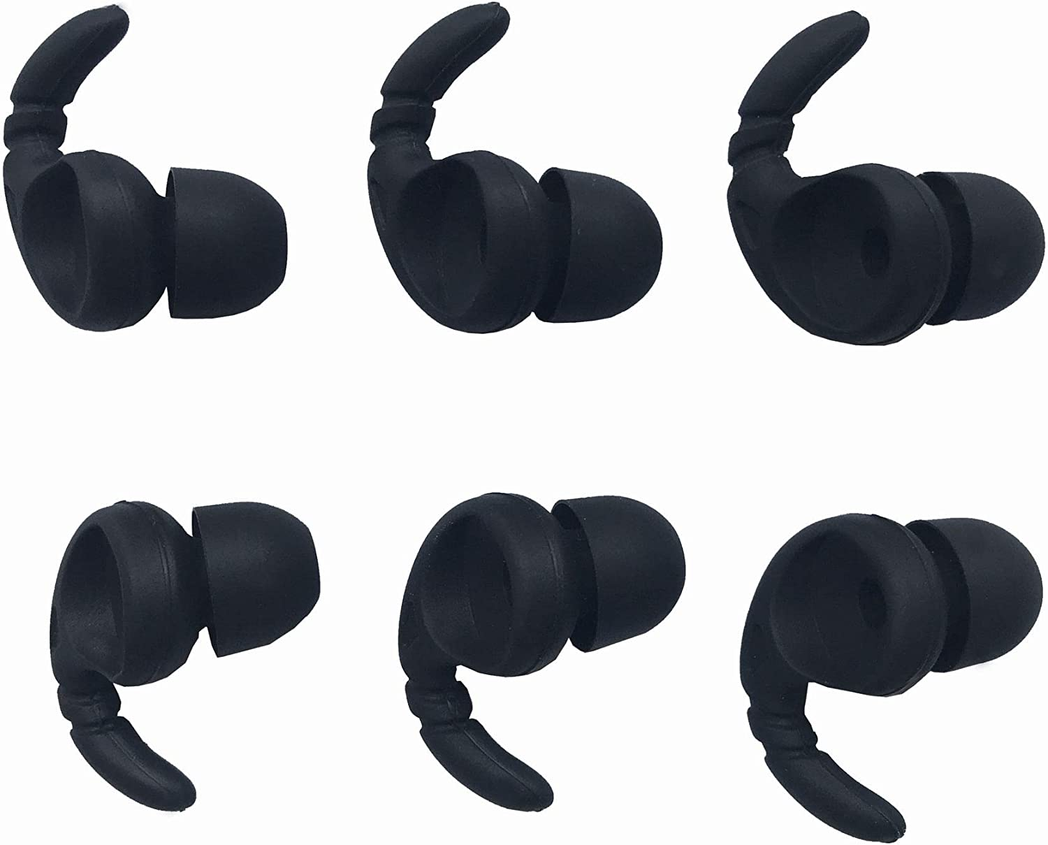 Sports Earbud Stabilizers Fins Wing Noise Isolation Replacement Eartips Adapters for in Ear Earphones 4mm to 6mm Nozzle Attachment 3 Pairs Left and Right Black