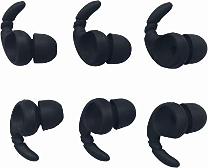 ALXCD Replacement Ear Tips /& Clips for in-Ear Earphone S//M//L Sizes /& Double//Triple Flange 9 Pairs Silicone Replacement Earbud Tips Eartips Adapter /& 4 Pcs Long//Short Earphone Wire Clip Black 18+4