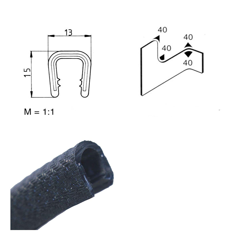 Klemmbereich 6 EUTRAS Kantenschutz 1201 KS1201 Klemmprofil Keder schwarz 8 mm 10 m