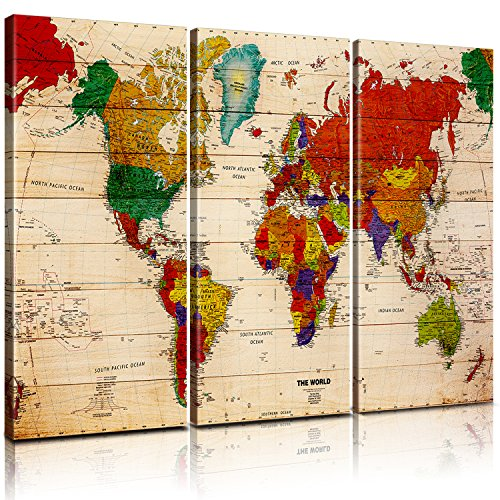 - Pixel power color world map artwork canvas wall art xlarge 3 panel premium vintage map of the world posters painting abstract pictures prints global maps with countries names for home decor office
