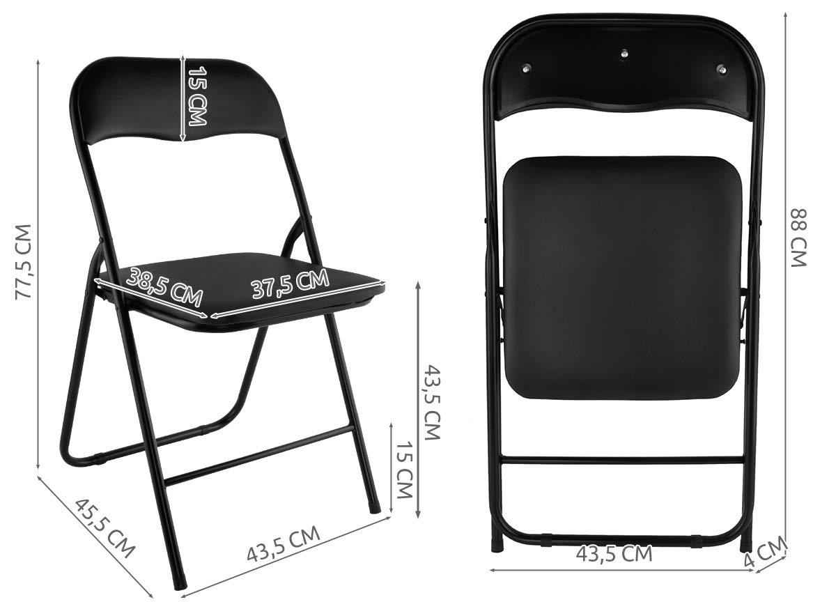 MALATEC Klappstuhl mit Metallrahmen und Kunstlederbezug klappbar/Belastbarkeit 120 kg Schwarz 7890