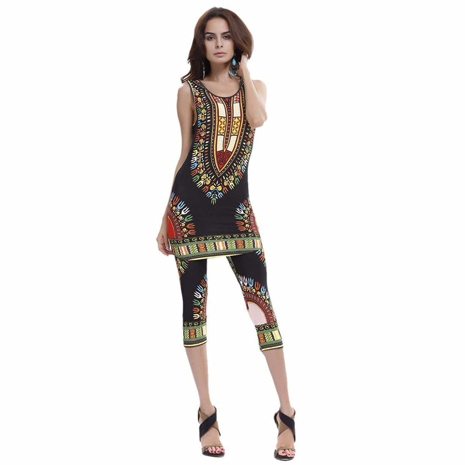 Lady African Design Printed Two-piece Vests+Pants Plus Size Sleeveless Hot