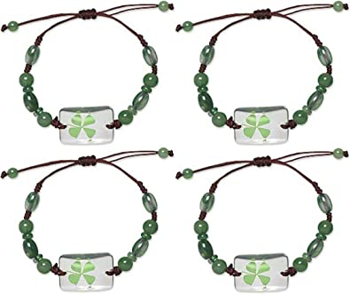 Real Green Lucky Shamrock Four Leaf Clover Round Pendant Necklace Friends Pip LS