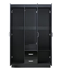 Gladini XL Mirrored Black High Gloss 3 Door Wardrobe with 2 Drawers - SOFT CLOSE - Hanging Rail (Black)